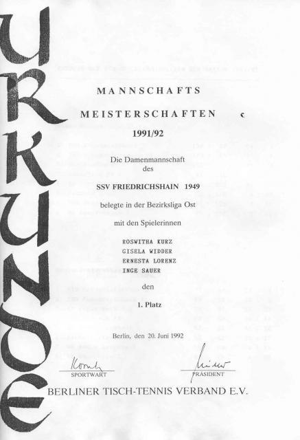 Urkunde 1. Platz Damen in der Bezirksliga Ost 1991/92