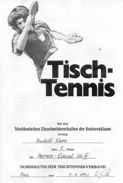 Urkunde 1. Platz Rudolf Kurz Norddeutsche Meisterschaft der Seniorenklasse 1992