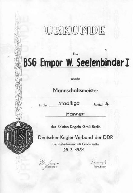 Urkunde Mannschaftsmeister BSG Empor W. Seelenbinder I