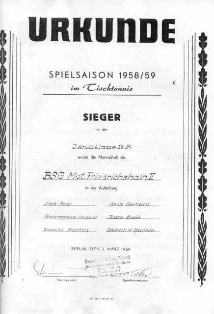 Urkunde der Siegermannschaft 2. Kreisklasse 1958/59